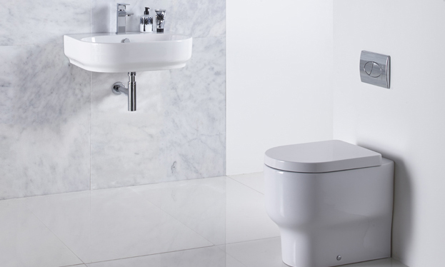 Edition back to wall pan and basin lifestyle with trance mirror v01
