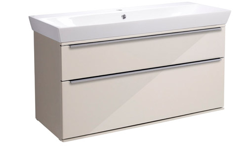 Scheme 1000mm Wall Mounted Unit Gloss Calico with Double Drawer Ceramic Basin SCH1000D.GCA