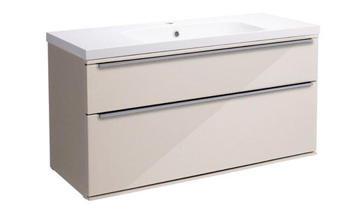Scheme 1000mm Wall Mounted Unit Gloss Calico with Double Drawer ISO SCH1000D.GCA