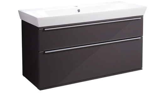 Scheme 1000mm Wall Mounted Unit Gloss Dark Clay with Double Drawer Ceramic Basin SCH1000D.GDC