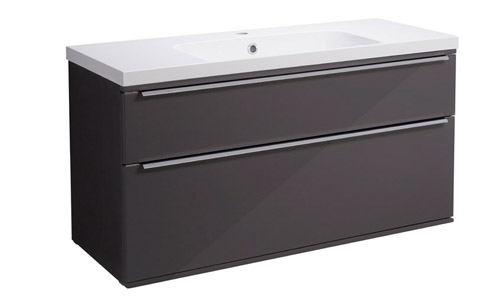 Scheme 1000mm Wall Mounted Unit Gloss Dark Clay with Double Drawer ISO SCH1000D.GDC