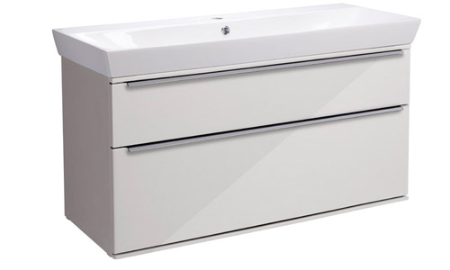Scheme 1000mm Wall Mounted Unit Gloss Mist with Double Drawer Ceramic Basin SCH1000D.GMS