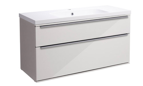 Scheme 1000mm Wall Mounted Unit Gloss Mist with Double Drawer ISO SCH1000D.GMS