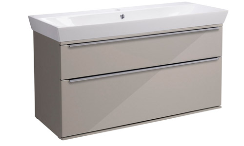 Scheme 1000mm Wall Mounted Unit Gloss Warm Grey with Double Drawer Ceramic Basin SCH1000D.GWG