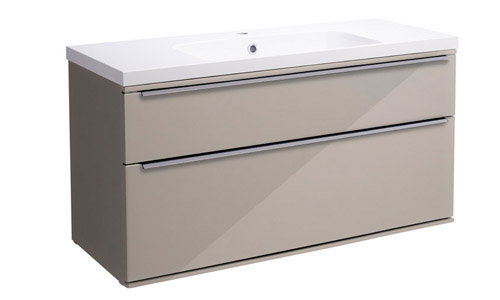 Scheme 1000mm Wall Mounted Unit Gloss Warm Grey with Double Drawer ISO SCH1000D.GWG