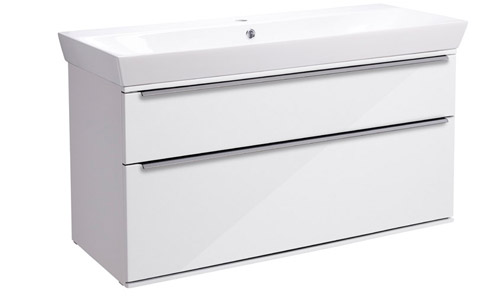Scheme 1000mm Wall Mounted Unit Gloss White with Double Drawer Ceramic Basin SCH1000D.GW