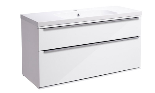 Scheme 1000mm Wall Mounted Unit Gloss White with Double Drawer ISO Basin SCH1000D.GW