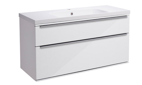 Scheme 1000mm Wall Mounted Unit Gloss White with Double Drawer ISO SCH1000D.GW