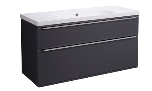 Scheme 1000mm Wall Mounted Unit Matt Carbon with Double Drawer ISO Basin SCH1000D.MCB