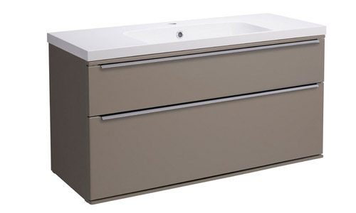 Scheme 1000mm Wall Mounted Unit Matt Light Clay with Double Drawer ISO SCH1000D.MLG