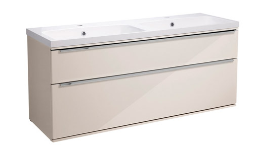 Scheme 1200 Wall Mounted Unit ISO with Double Drawer Gloss Calico SCH1200D.GCA