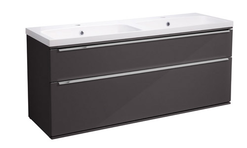 Scheme 1200 Wall Mounted Unit ISO with Double Drawer Gloss Dark Clay SCH1200D.GDC