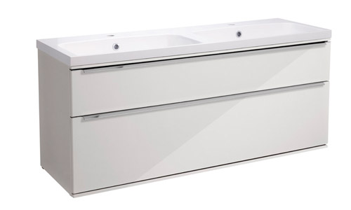 Scheme 1200 Wall Mounted Unit ISO with Double Drawer Gloss Mist SCH1200D.GMS