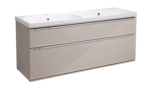 Scheme 1200 Wall Mounted Unit ISO with Double Drawer Gloss Warm Grey SCH1200D.GWG