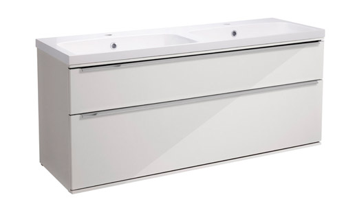 Scheme 1200 Wall Mounted Unit ISO with Double Drawer Gloss White  SCH1200D.GW