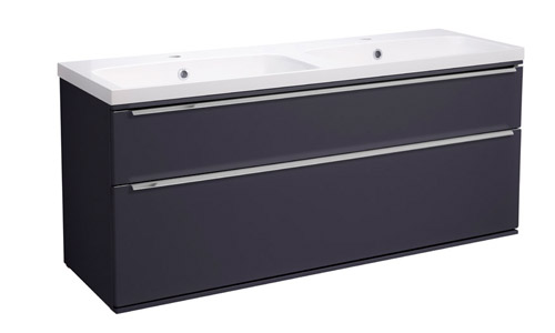 Scheme 1200 Wall Mounted Unit ISO with Double Drawer Matt Carbon SCH1200D.MCB