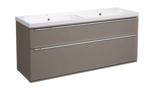 Scheme 1200 Wall Mounted Unit ISO with Double Drawer Matt Light Clay SCH1200D.MLC