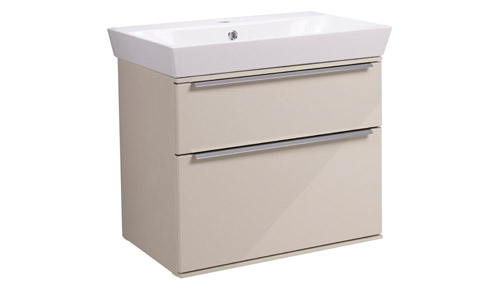 Scheme 600mm Wall Mounted Unit Gloss Calico with Double Drawer Ceramic Basin SCH600D.GCA