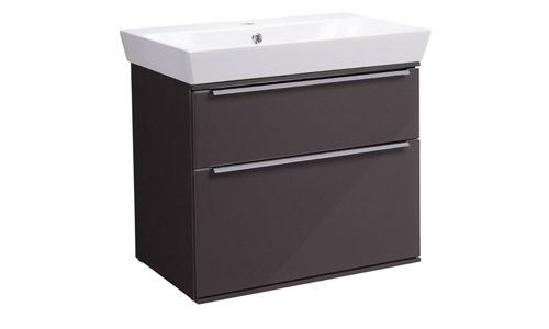 Scheme 600mm Wall Mounted Unit Gloss Dark Clay with Double Drawer Ceramic Basin SCH600D.GDC