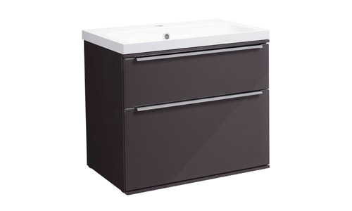 Scheme 600mm Wall Mounted Unit Gloss Dark Clay with Double Drawer ISO Basin SCH600D.GDC