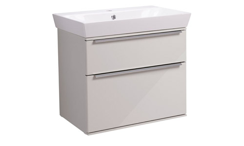 Scheme 600mm Wall Mounted Unit Gloss Mist with Double Drawer Ceramic Basin SCH600D.GMS