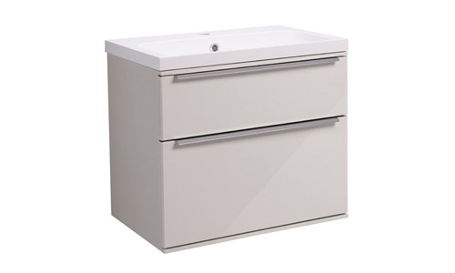 Scheme 600mm Wall Mounted Unit Gloss Mist with Double Drawer ISO Basin SCH600D.GMS