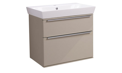 Scheme 600mm Wall Mounted Unit Gloss Warm Grey with Double Drawer Ceramic Basin SCH600D.GWG