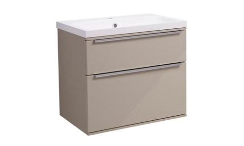 Scheme 600mm Wall Mounted Unit Gloss Warm Grey with Double Drawer ISO Basin SCH600D.GWG