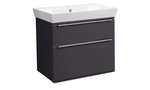 Scheme 600mm Wall Mounted Unit Matt Carbon with Double Drawer Ceramic Basin SCH600D.MCB