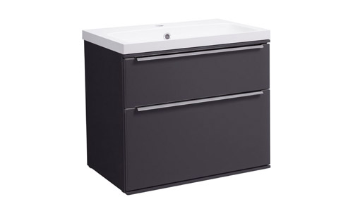 Scheme 600mm Wall Mounted Unit Matt Carbon with Double Drawer ISO Basin SCH600D.MCB