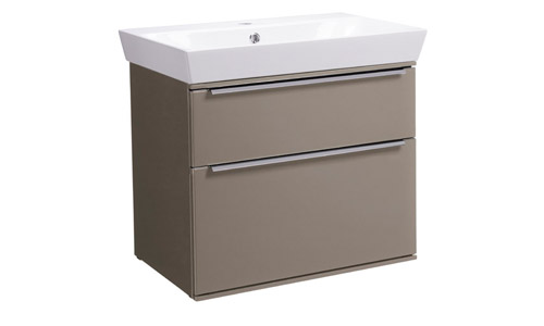 Scheme 600mm Wall Mounted Unit Matt Light Clay with Double Drawer Ceramic Basin SCH600D.MLC