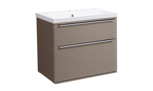 Scheme 600mm Wall Mounted Unit Matt Light Clay with Double Drawer ISO Basin SCH600D.MLC
