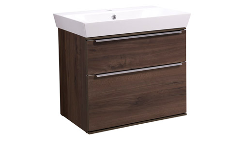 Scheme 600mm Wall Mounted Unit Smoked Walnut with Double Drawer Ceramic Basin SCH600D.SW