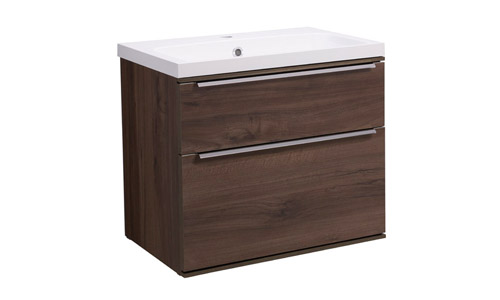 Scheme 600mm Wall Mounted Unit Smoked Walnut with Double Drawer ISO Basin SCH600D.SW