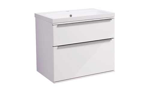 Scheme 600mm Wall Mounted Unit White with Double Drawer SCH600D.GW
