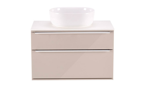 Scheme 800 Wall Mounted Unit Cell Basin with Double Drawer Gloss Wall Grey SCH800D.GWG