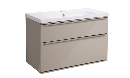 Scheme 800 Wall Mounted Unit ISO Basin with Double Drawer Gloss Warm Grey SCH800D.GWG