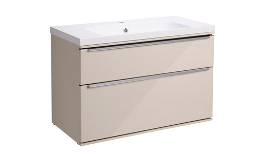 Scheme 800 Wall Mounted Unit ISO with Double Drawer Gloss Calico SCH800D.GCA