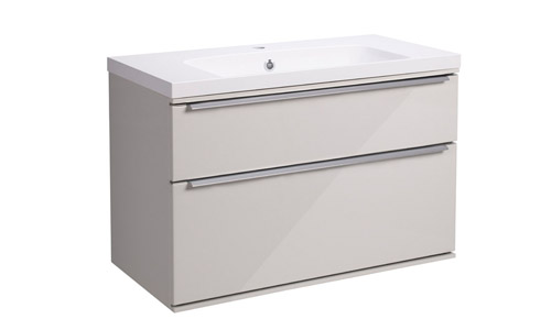 Scheme 800 Wall Mounted Unit ISO with Double Drawer Gloss Mist SCH800D.GMS
