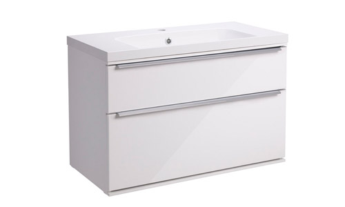 Scheme 800 Wall Mounted Unit ISO with Double Drawer Gloss White SCH800D.GW