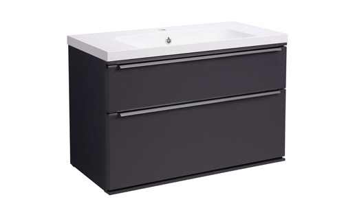 Scheme 800 Wall Mounted Unit ISO with Double Drawer Matt Carbon SCH800D.MCB