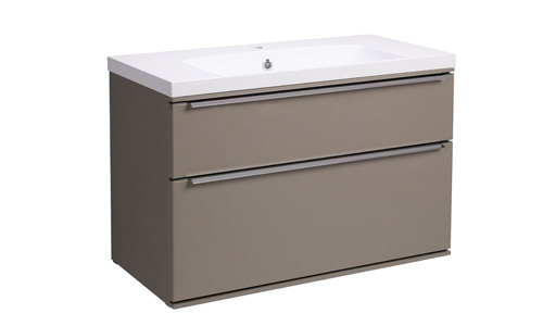 Scheme 800 Wall Mounted Unit ISO with Double Drawer Matt Light Clay SCH800D