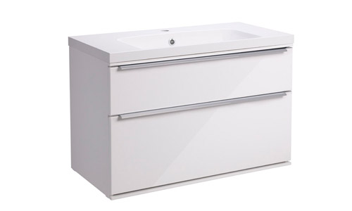 Scheme 800 Wall Mounted Unit ISO with Double Drawer White SCH800D.GW